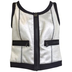 1990s CHANEL Silver and Black Vest