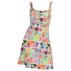 1990's Chanel Vintage Graffiti Print Jersey Dress
