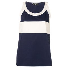 1990s Chanel White And Blue Top
