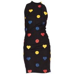 1990'S CHIARA BONI Black Linen Sleevless Dress With Raffia Hearts & Dots