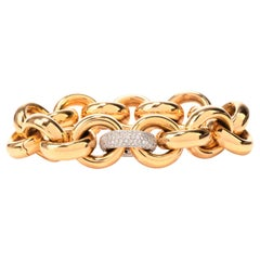1990s Chic 18 Karat Yellow Gold and Diamond Flexible Link Bracelet