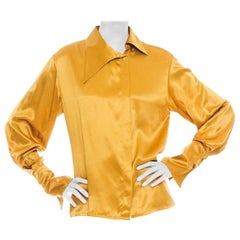 1990S Chloe Yellow-Gold Blouse With Jagged Asymmetrical Collar