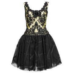 1990s Chris Kole Yellow and Black Lace & Tulle Cocktail Dress