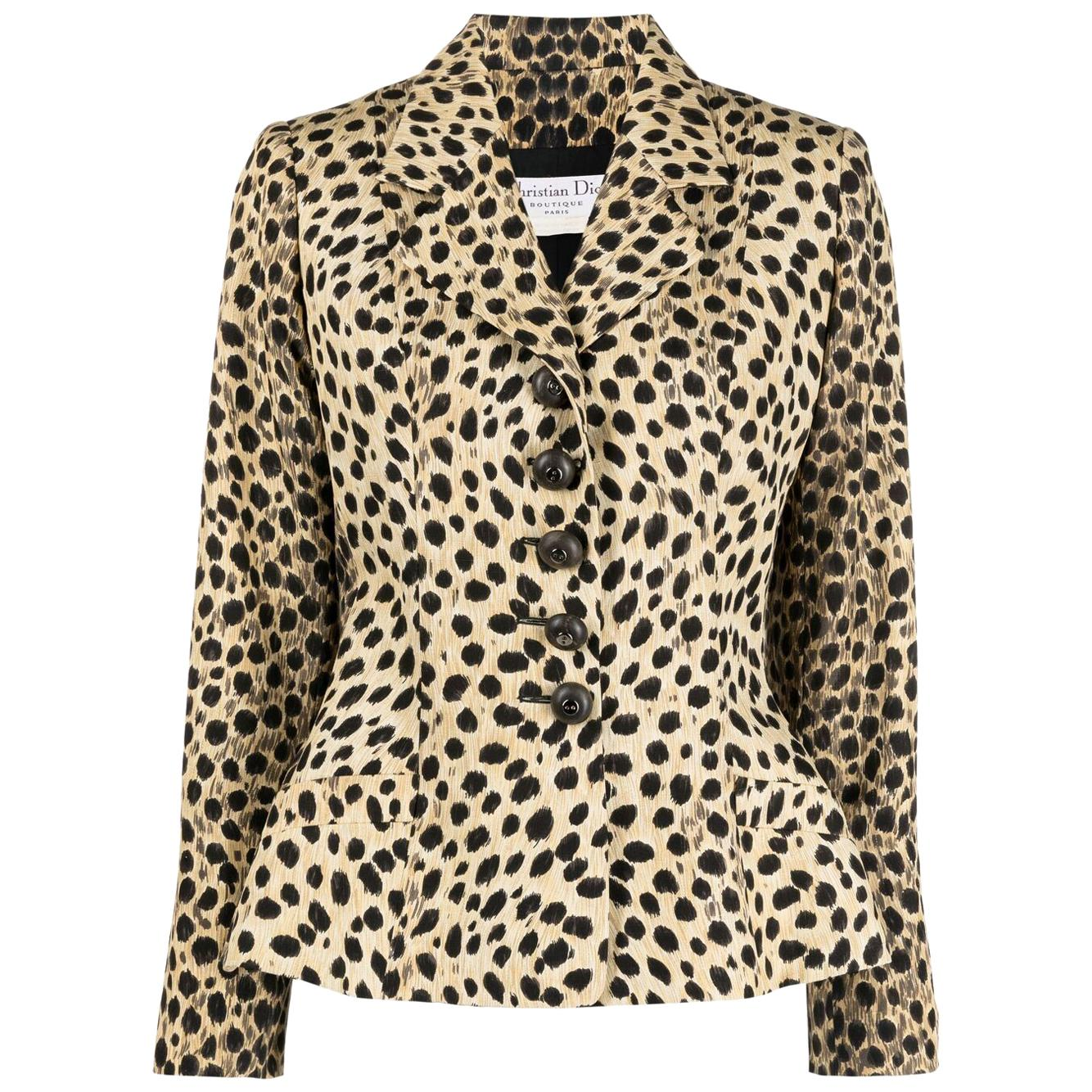 1990s Christian Dior Bar Jacket  Silk Animal Print