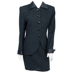1990s Christian Dior Black and Metallic Tweed Suit