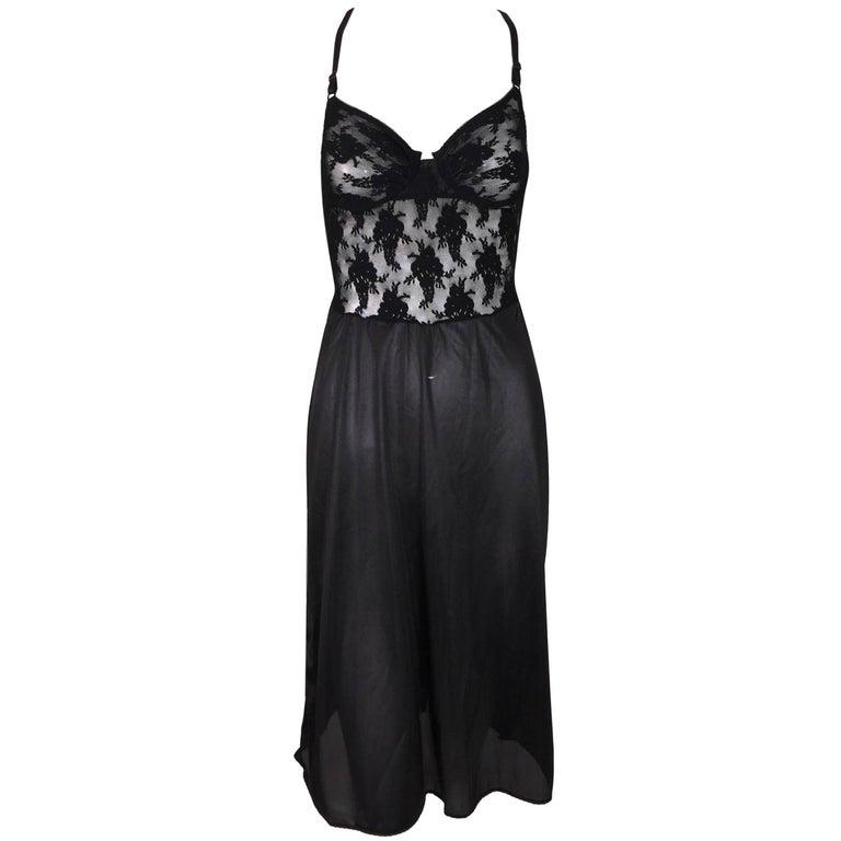 1990's Christian Dior Black Lace & Mesh Sheer Underwire Slip Dress 34B