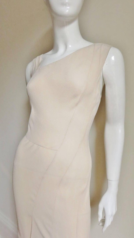 Gray Christian Dior Blush Seam Detail Silk Gown, 1990s  For Sale