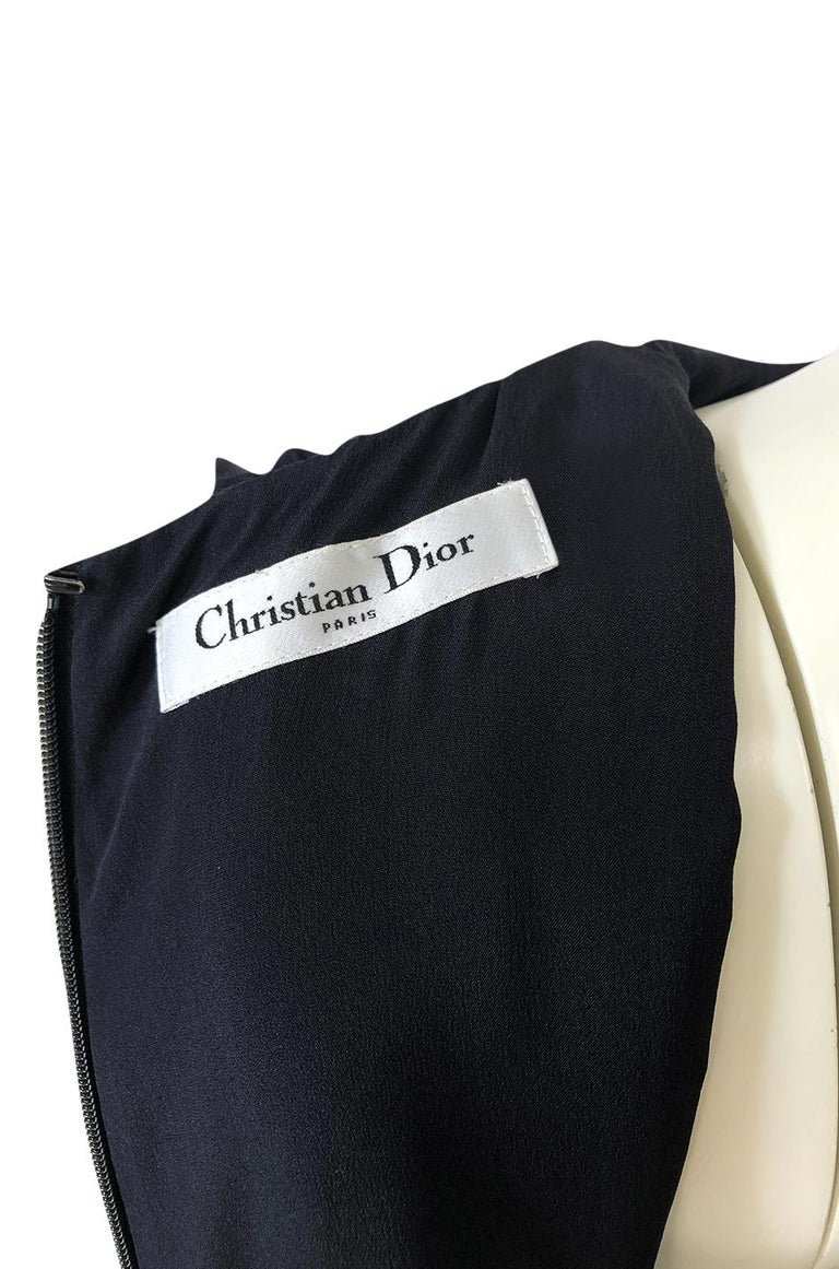 1990s Christian Dior Chic Black Sheath Dress w Pleated Cape Overley For Sale 6