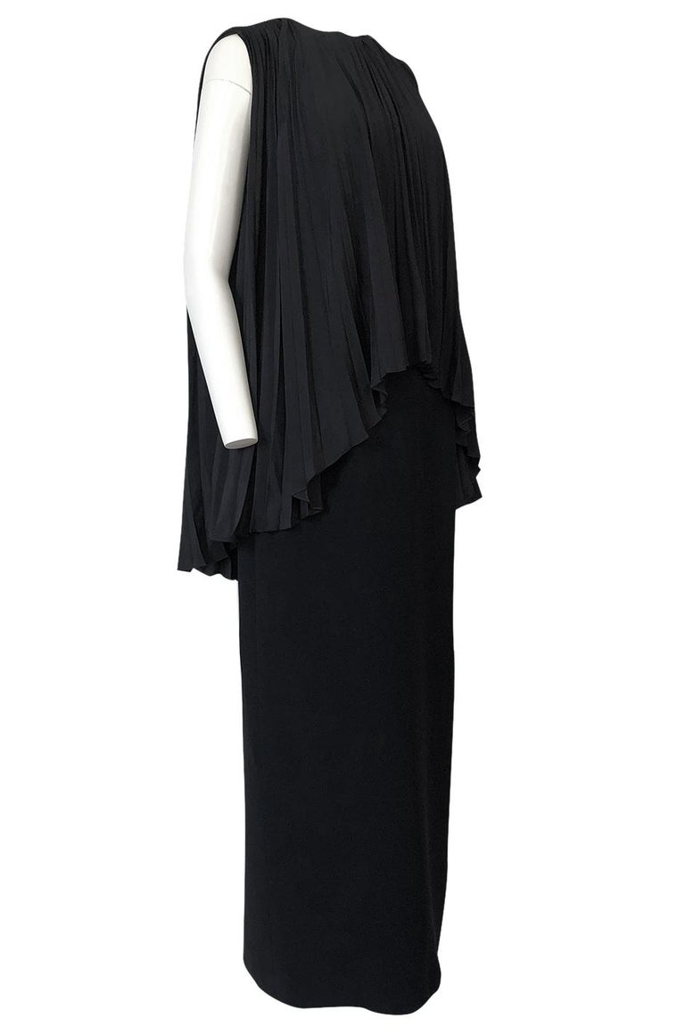 1990s Christian Dior Chic Black Sheath Dress w Pleated Cape Overley In Excellent Condition For Sale In Rockwood, ON