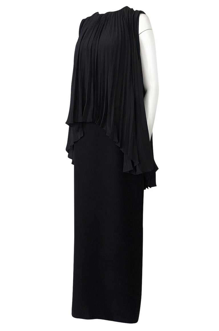 Women's 1990s Christian Dior Chic Black Sheath Dress w Pleated Cape Overley For Sale