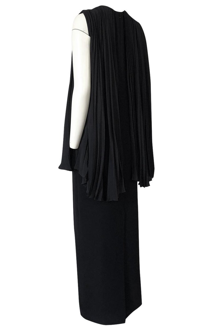 1990s Christian Dior Chic Black Sheath Dress w Pleated Cape Overley For Sale 1