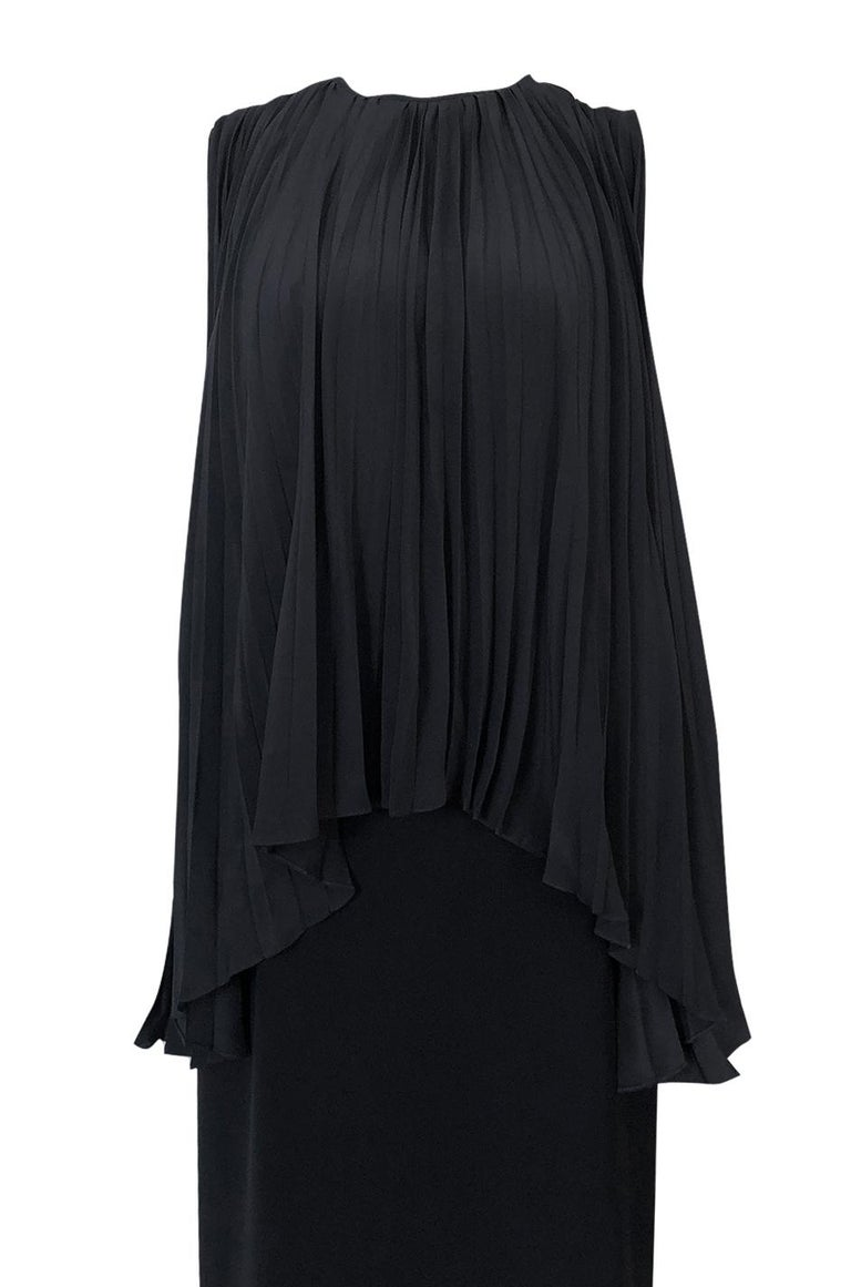 1990s Christian Dior Chic Black Sheath Dress w Pleated Cape Overley For Sale 2