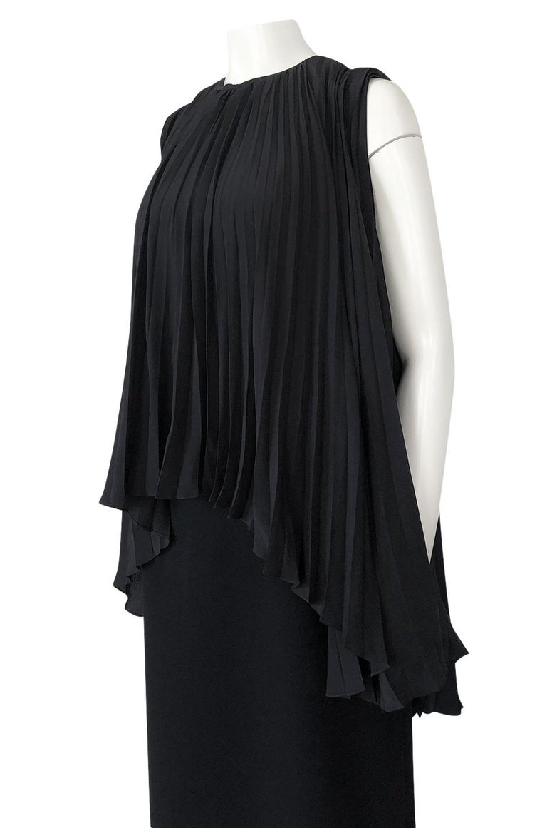 1990s Christian Dior Chic Black Sheath Dress w Pleated Cape Overley For Sale 3