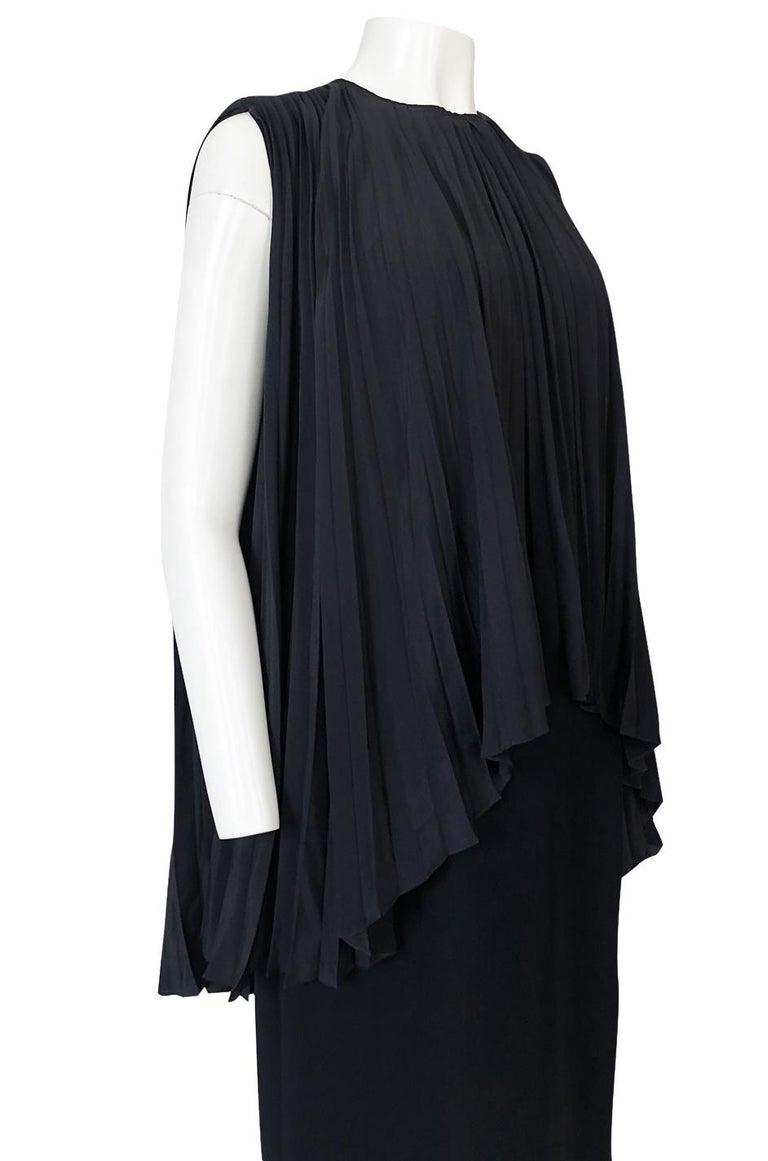 1990s Christian Dior Chic Black Sheath Dress w Pleated Cape Overley For Sale 4