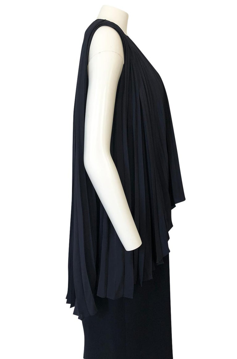 1990s Christian Dior Chic Black Sheath Dress w Pleated Cape Overley For Sale 5
