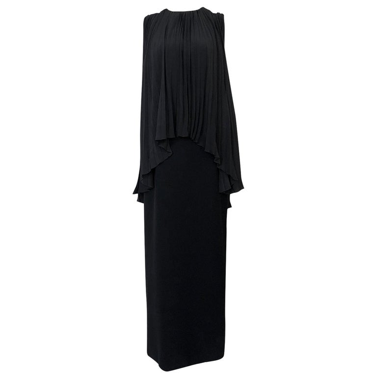 1990s Christian Dior Chic Black Sheath Dress w Pleated Cape Overley For Sale