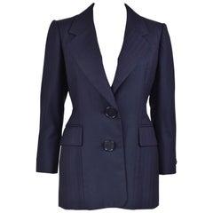 1990s Christian Dior Haute Couture Navy Striped Chevron Blazer