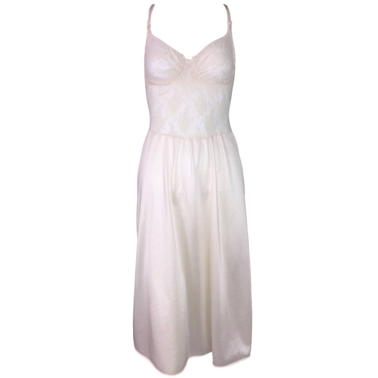 1990's Christian Dior Ivory Lace & Mesh Sheer Underwire Slip Dress 34B