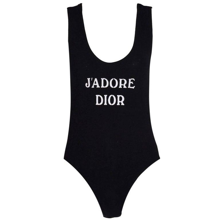 1990's Christian Dior Jadore Black Bodysuit Top