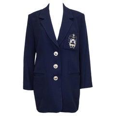 1990s Christian Dior Navy Blue Blazer with Crest
