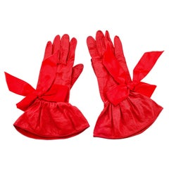 1990s Christian Dior Red Leather Gloves with Satin Bows