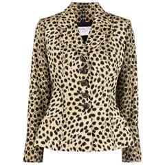 1990s Christian Dior Silk Animal Print Jacket