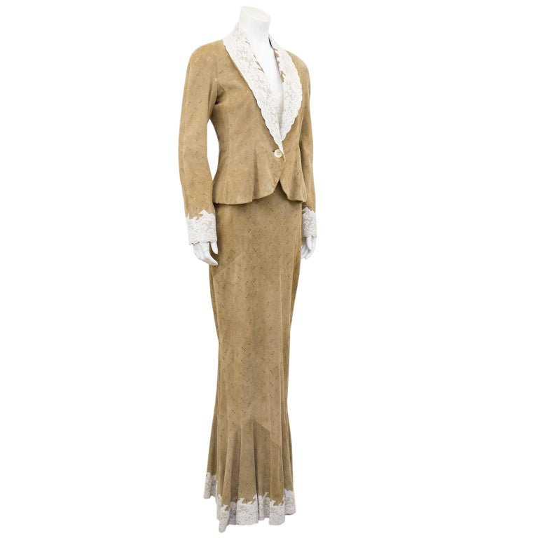 1990s Christian Dior Tan Suede Dress and Jacket with Lace Trim  In Good Condition In Toronto, Ontario