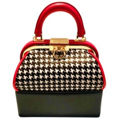 1990s Christian Dior Top Handle Houndstooth Box Clutch Bag