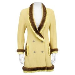 1990's Christian Dior Yellow Bouclé Jacket with Mink Trim
