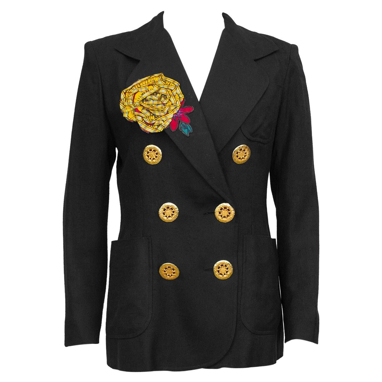 1990S Christian Lacroix Black Linen Double Breasted Jacket with Flower
