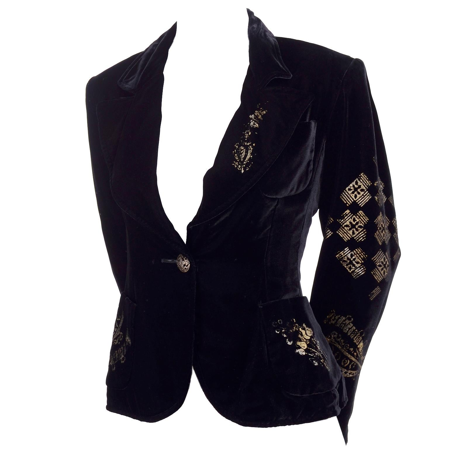 1990s Christian Lacroix Black Velvet Blazer Gold Stencil Stamped Pattern Jacket
