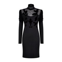 1990s Christian Lacroix Black Wool Jersey And Net Gown With Velvet Inserts