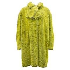 1990s Christian Lacroix Chartreuse Faux Fur Coat