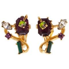 1990s Christian Lacroix Gem Set Earrings