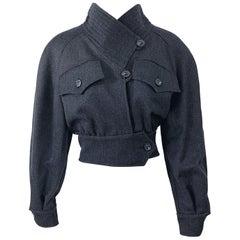 1990s Christian LaCroix Gray Size 8 Avant Garde Vintage 90s Cropped Jacket