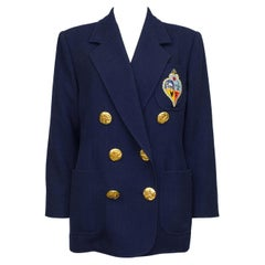 1990s Christian Lacroix Navy Blue Double Breasted Blazer with Crest