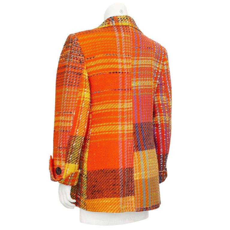 1990s Christian Lacroix Orange Tweed Blazer In Good Condition For Sale In Toronto, Ontario
