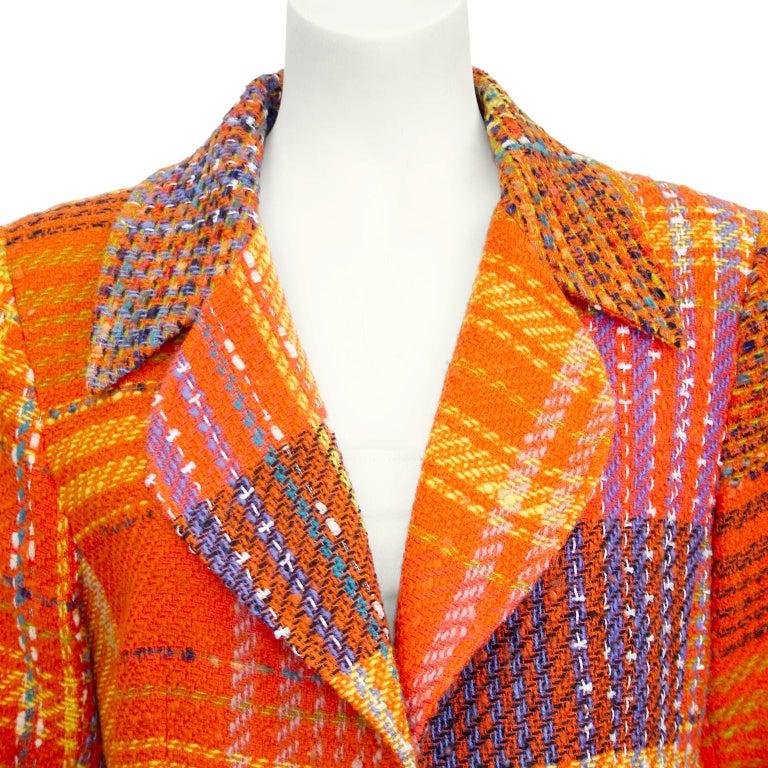 Women's 1990s Christian Lacroix Orange Tweed Blazer For Sale