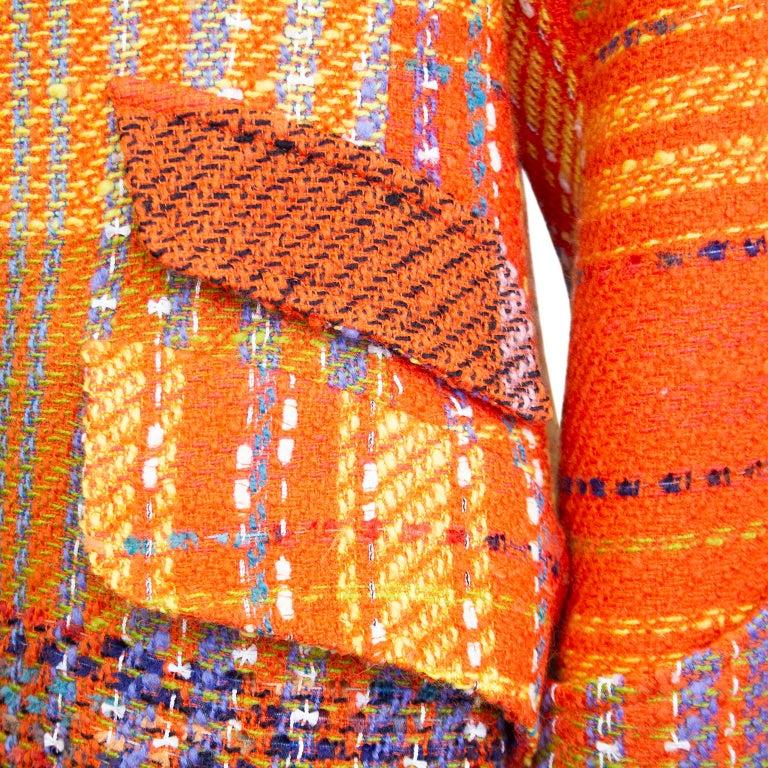 1990s Christian Lacroix Orange Tweed Blazer For Sale 2
