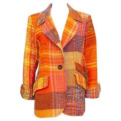 1990s Christian Lacroix Orange Tweed Blazer