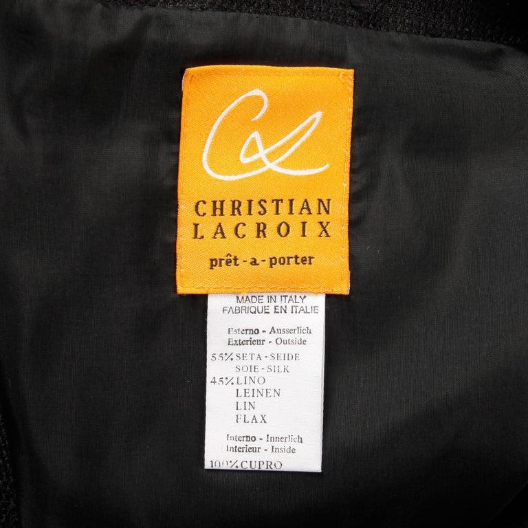 1990s Christian Lacroix Pret-a-Porter Vintage Black Silk Linen Blazer Jacket In Excellent Condition For Sale In Sparks, NV