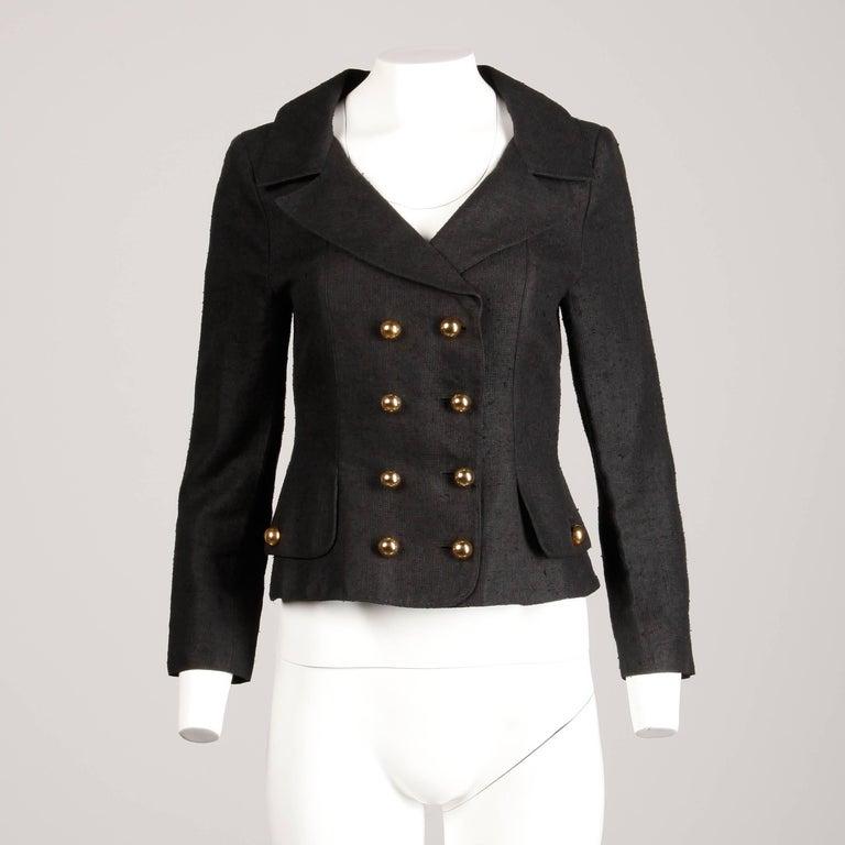 Women's 1990s Christian Lacroix Pret-a-Porter Vintage Black Silk Linen Blazer Jacket For Sale