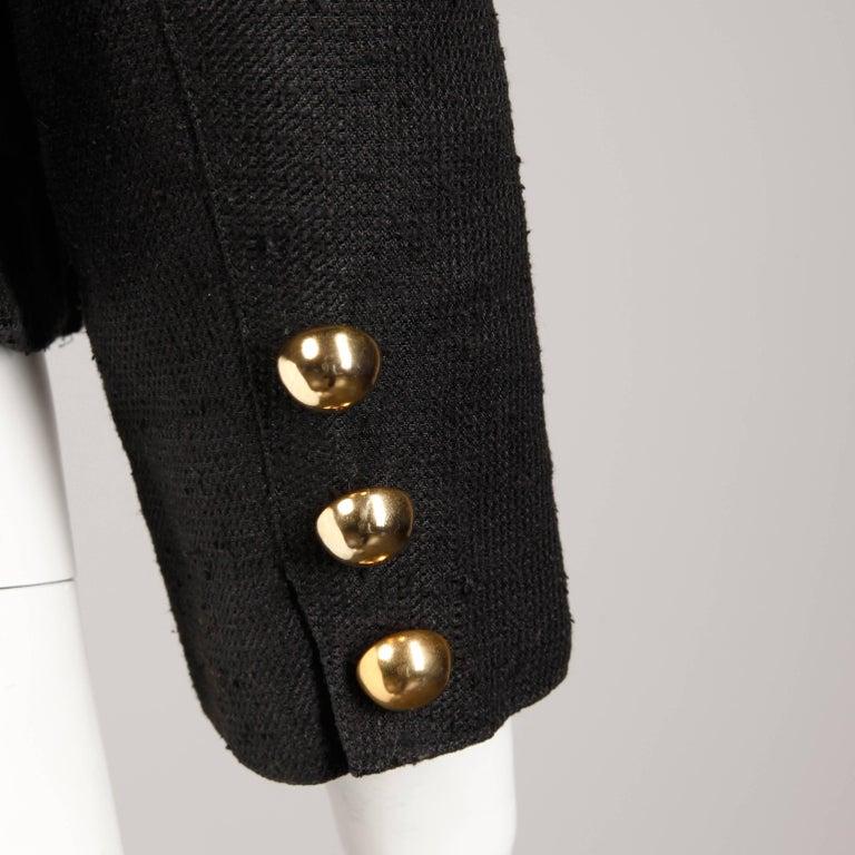 1990s Christian Lacroix Pret-a-Porter Vintage Black Silk Linen Blazer Jacket For Sale 1