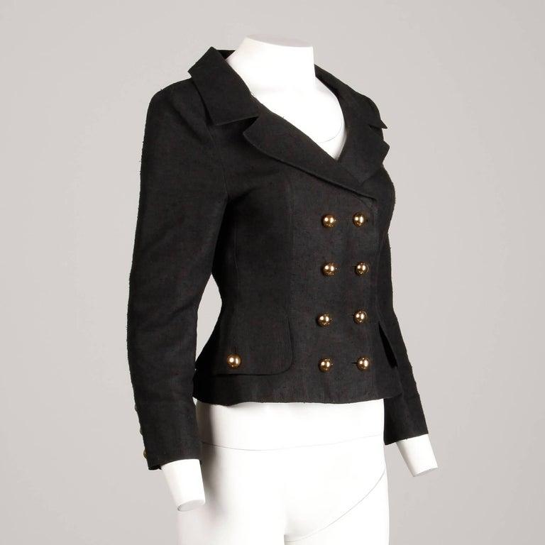 1990s Christian Lacroix Pret-a-Porter Vintage Black Silk Linen Blazer Jacket For Sale 2