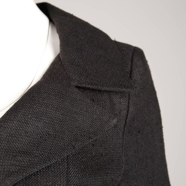 1990s Christian Lacroix Pret-a-Porter Vintage Black Silk Linen Blazer Jacket For Sale 3