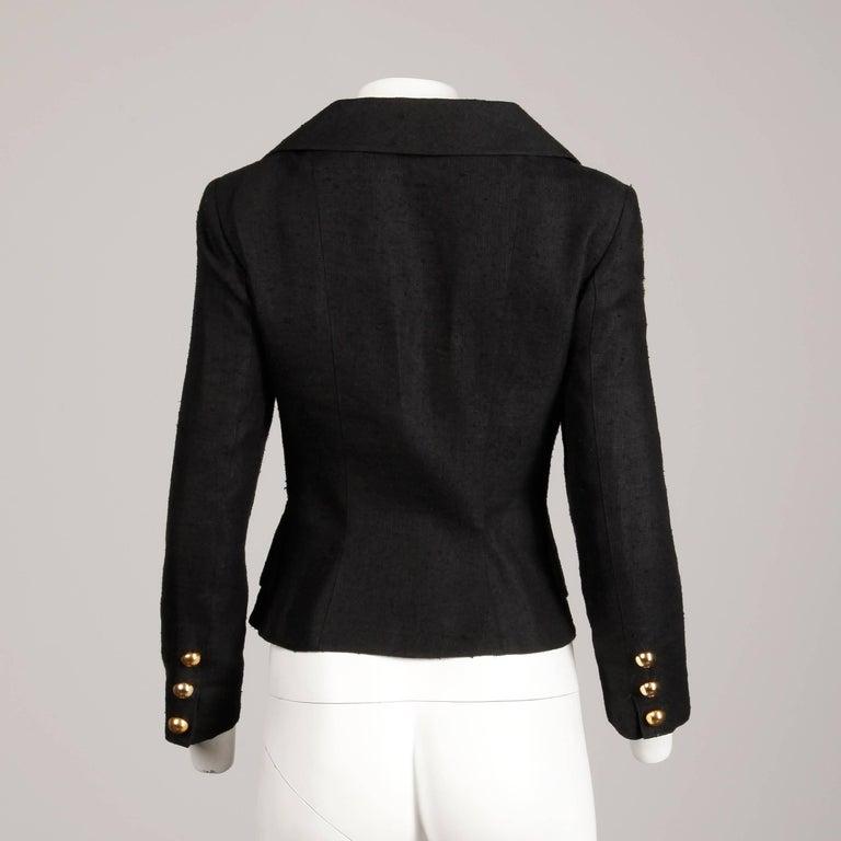 1990s Christian Lacroix Pret-a-Porter Vintage Black Silk Linen Blazer Jacket For Sale 4