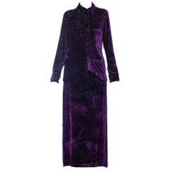 1990s CHRISTIAN LACROIX Purple Rayon & Silk Burnout Velvet Blouse & Skirt Ensemb