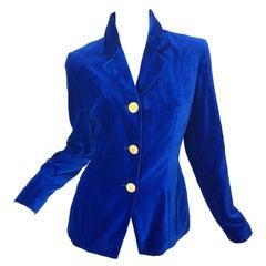1990s Christian Lacroix Royal Cerulean Blue Velvet Vintage 90s Blazer Jacket 40