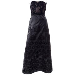 1990s Christian Lacroix Vintage Black Lace & Satin Strapless Evening Dress