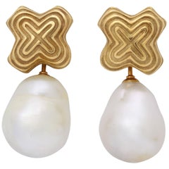 """1990s Christopher Walling Ridged """"X"""" Gold Earrings with Detachable Baroque Pearl"""
